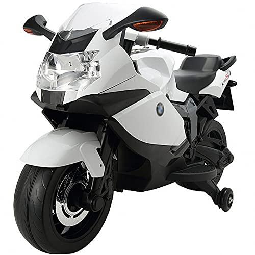 WYNBB Moto Electrica Infantil, Moto de Juguete Eléctrico Batería 6V con Luces y Música,Ruedas de Apoyo,para niños de 3 a 9 años,White