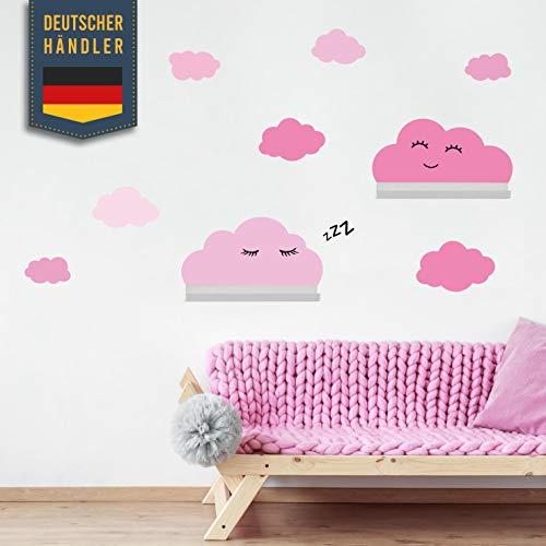 Clouds muursticker set zelfklevend, geschikt voor IKEA RIBBA/MOSSLANDA wandplankranden - houtsnippers muurstickers, stickers, behangstickers om plakken, muurdecoratie voor peuters, babykamer roze