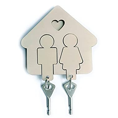 Key Organizer Holder with 2 Key Chains, Wall Mount Key Hanger with Cute His and Hers Keychains, Premium Wooden Key Holder, Easy Install Sticker Fastening, Nice DIY Idea, Great for Couples