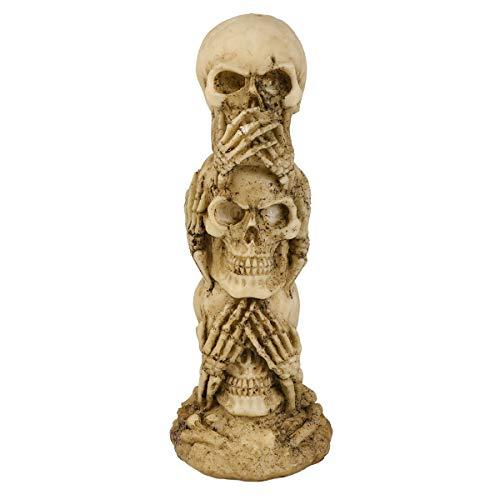 LUOEM Figura del cráneo Oír, no Ver, no Hablar, no, Mal, cráneo, Estatua, Escultura, Figura, Esqueleto, apilar, cráneos, para, decoración de Halloween, cráneo, colección, -, Halloween, Regalos