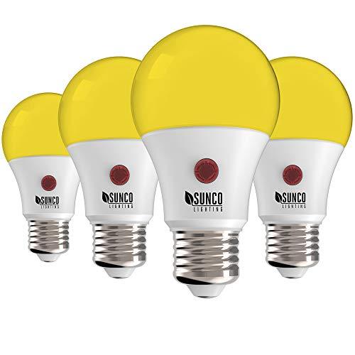Sunco Lighting A19 LED Bulb, Yellow Light, 9W, Auto On/Off, Dusk to Dawn Photocell Sensor, 2000K Amber Glow, Damp Location Patio, Deck, Backyard, Porch - 4 Pack