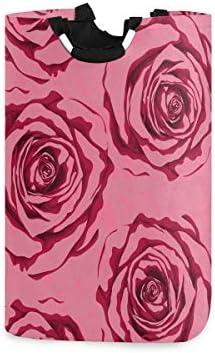 NA Rose Bloemen Wasmand Kledingmand Grote Capaciteit Mand met Handvatten voor Opslag Kleding Speelgoed in Slaapkamer Badkamer Opvouwbaar 13