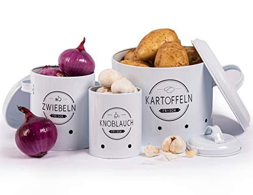 Theo&Cleo Kartoffel Vorratsdosen Set, Kartoffeltopf im Retro Design Zwiebeltopf, Großer Vorratsbehälter aus Metall, Küche Aufbewahrung, Kann Kartoffeln für eine Lange Zeit lagern