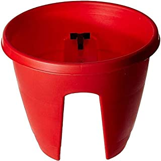 Antier Garden Essential Plastic Balcony Hanging Planter Pot with Adjustable Railing Lock (12inch, Red, Pack of 1)