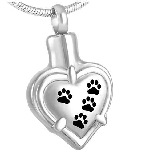Wxcvz Colgante para Conmemorar Never Fade 316L Acero Inoxidable Corazón En Blanco Urna Conmemorativa Collar con Colgante De Cremación para Cenizas De Mascotas, Letra De Grabado Gratis