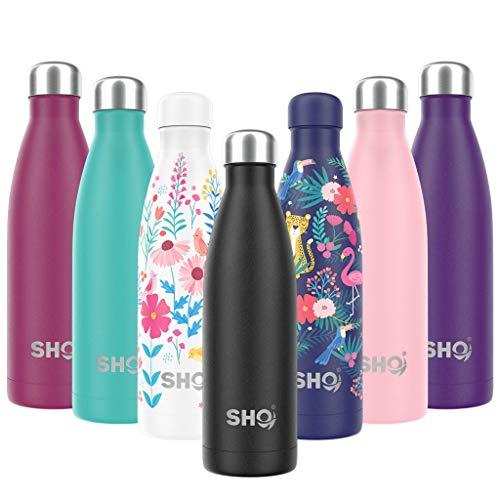 SHO Bottle - Perfekte Vakuumisolierte, Doppelwandige Trinkflasche + Wasserflasche - Aus Hochwertigem Edelstahl - 24 Std Kühlen & 12 Std Warmhalten - BPA frei (Jet Black 2.0 - Powder Coated, 500ml)