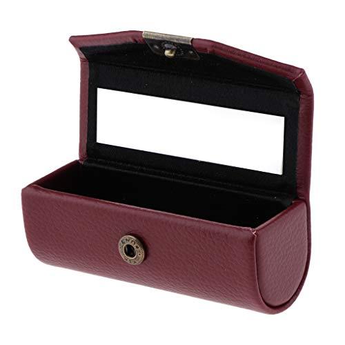 #N/a Vintage Caja de Almacenamiento de Lápiz Labial Individual Caja de Soporte de Gota de Joyería con Espejo - Vino rojo