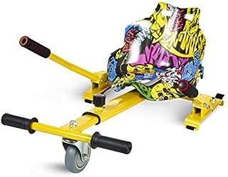 ECOXTREM Hoverkart, Asiento Kart, Amarillo diseño Hip Hop, con manillares Laterales, Barra Ajustable. Accesorio para patinetes eléctricos Hoverboard 6'5