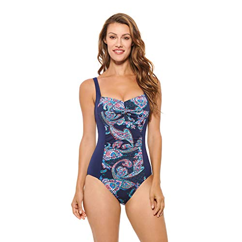 Christina Women's Cup Sized Triangle V-Neck One Piece Swimsuit, Medallion Paisley Multi, 10D