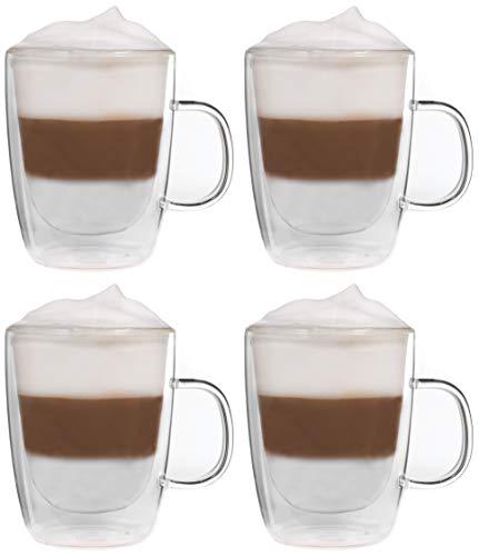 Snobby 4X 450ml doppelwandige Tassen/Thermotassen/Glastassen/Teetassen/Kaffeetassen mit Schwebeeffekt by Feelino