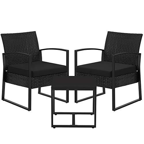 SONGMICS Gartenmöbel-Set, 3er Set, aus Polyrattan, für Outdoor, Terrasse, Balkon, Garten, einfache Montage, Beistelltisch und 2 Stühle, schwarz GGF010B01