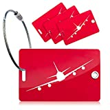 <span class='highlight'><span class='highlight'>OCTiLUX</span></span> Luggage Baggage Tags for Travel Suitcase PVC with Steel Cable 4 Pack Red