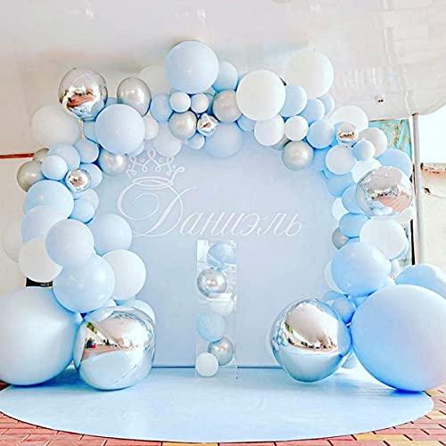Kit de arco de guirnalda de globos azul, 141 piezas de globos azules plateados blancos, globos plateados 4D, arco de globos de metal Macaron para baby shower de niño, decoraciones de primer cumpleaños