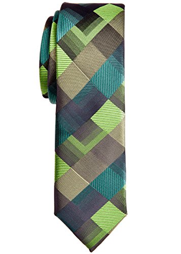 Corbata estrecha con patrón geométrico estilo vintage, de Retreez. Tela de microfibra. 5 cm de ancho de pala Verde verde Talla única