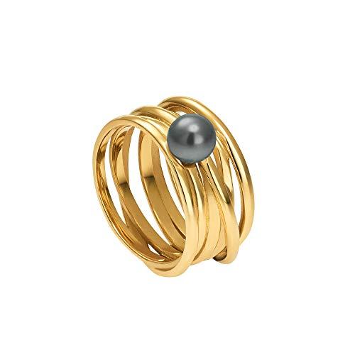 Heideman Ring Damen Serpens aus Edelstahl Gold farbend matt Damenring für Frauen mit Swarovski Perle Weiss grau oder schwarz rund 6mm Perlring Black Gr.52 hr24268-7-16-52
