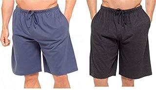 Best Deals Direct UK Mens Twin Pack Lounge Shorts Stretch Jersey Sleep Night Wear Pyjamas PJ Bottoms (4XL, dk Grey& Blue)
