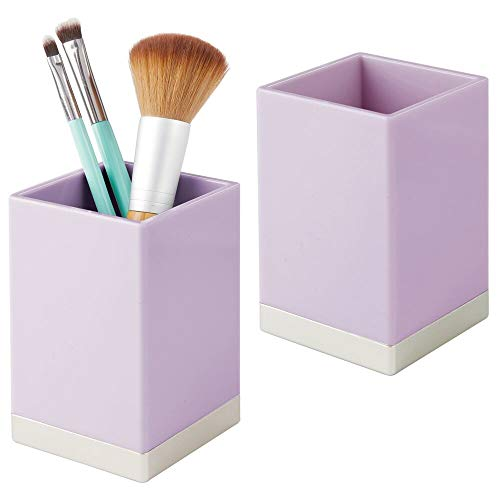 mDesign Modern Square Tumbler Cup for Bathroom Vanity Countertops - for Mouthwash/Mouth Rinse, Storing and Organizing Makeup Brushes, Eye Liners, Accessories - Slim, 2 Pack - Light Purple/Chrome