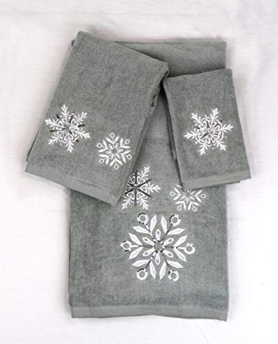 Homefabrics Marina Decoration Christmas Premium Ultra Soft 100% Cotton Embroidered 3 Piece Towel Set, Grey White Color Grey Snowflake Pattern (Second is
