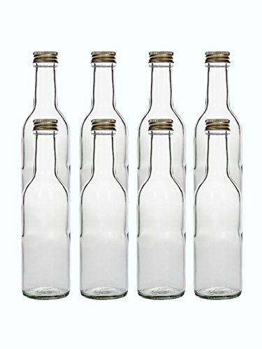 Glasflaschen Set mit Schraubverschluss Gold | 12 teilig | Füllmenge 250 ml | Bordeu Saftflaschen Likörflaschen Setzen Sie ganz einfach Ihr eigenes Öl oder Ihre eigenen Schnäpse und Liköre an