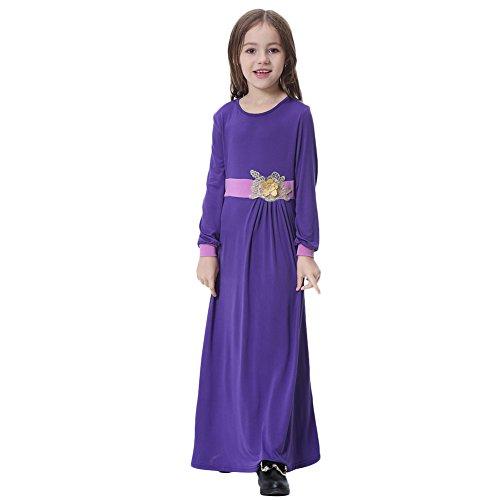 OBEEII Toddler Kid Girl Muslim 3D Flower Applique Abaya Jilbabs Long Sleeve Hijabs Maxi Dress Full Length Clothes XXXL Purple