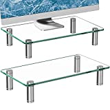 Zimilar 2 Pack Monitor Stand Riser, Height Adjustable Tempered Glass Computer Monitor Riser for Laptop, Computer, PC, Printer, Clear Monitor Stands for 2 Monitors
