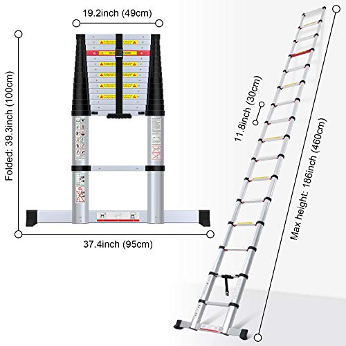 WolfWise 15.5FT Aluminum Telescoping Ladder with Stabilizer, Telescopic Extension Ladder 330 Pounds Capacity