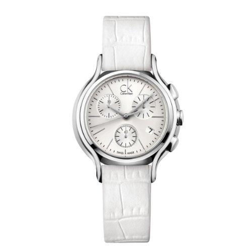 Calvin Klein Reloj Cronógrafo para Mujer de Cuarzo con Correa en Cuero K2U291L6