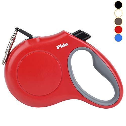 Fida Retractable Dog Leash, 16 ft Dog Walking Leash for Small Dogs up to 26lbs, Tangle Free, Red