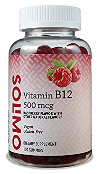 Amazon Brand - Solimo Vitamin B12 500 mcg - Normal Energy Production and Metabolism Immune System Support - 100 Gummies  2 Gummies per Serving