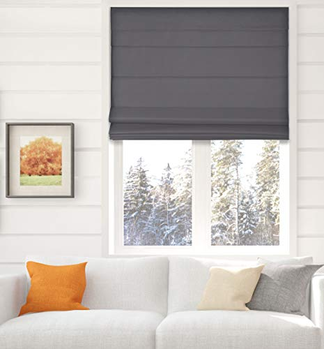 Arlo Blinds Thermal Room Darkening Fabric Roman Shades, Color: Graphite, Size: 22' W X 60' H, Cordless Lift Window Blinds