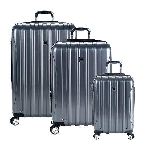 DELSEY Paris Helium Aero Hardside Expandable Luggage with Spinner Wheels, Titanium, 3-Piece Set (21/25/29)