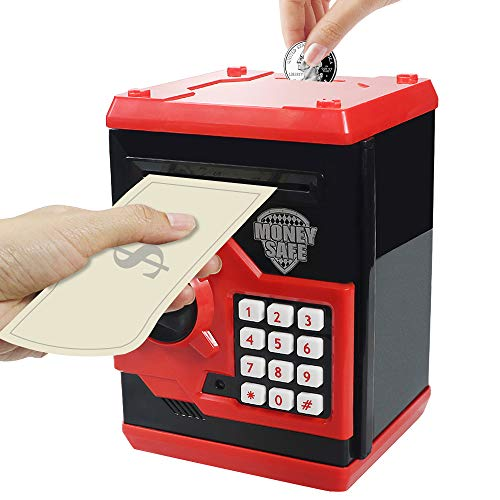HUSAN Great Gift Toy for Kids Code Electronic Piggy Banks Mini ATM Electronic Coin Bank Box for Children Password Lock Case (Black/Red)