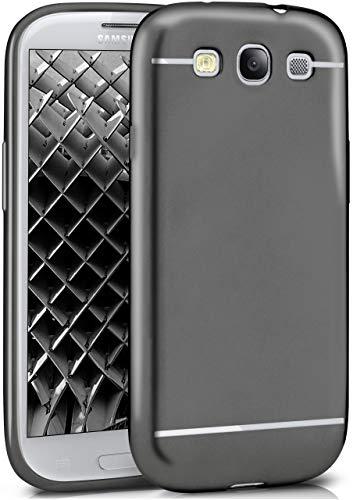 MoEx® Cover Silicone Metallizzato Compatibile con Samsung Galaxy S3 / S3 Neo | Flessibile, Robusta, Nero