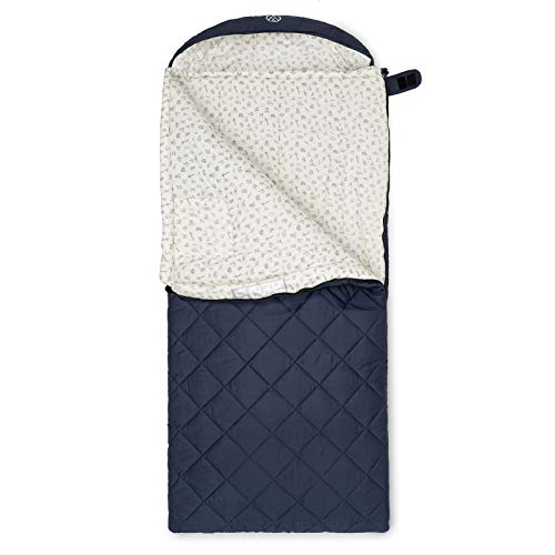 JUSTCAMP Urbana Junior Kinderschlafsack (koppelbar), XXL Deckenschlafsack (175 x 70 cm), Baumwolle - blau