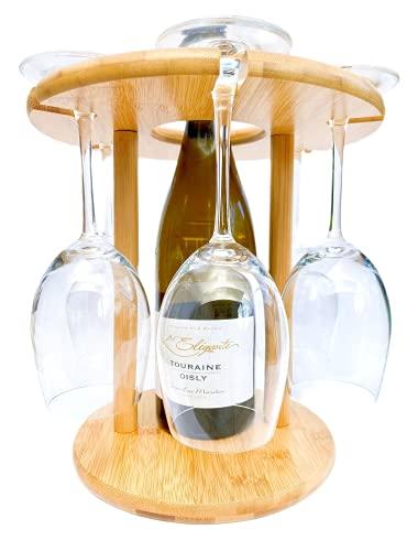 4evergreen Weinglashalter / Weinglas Abtropfgestell für 6 Weingläser und 1 Flasche Wein, aus 100% natürlichem Bambus, kann in der Küche, auf dem Esstisch oder Bar platziert werden, nachhaltig