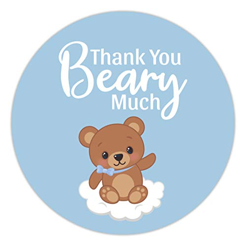 2 Inch (60 Pack) Teddy Bear Thank You Stickers - Blue Boy Baby Shower Favors Labels Decorations Supplies