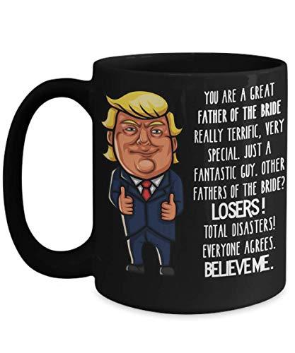 N\A Regalos para el Padre de la Novia Regalos para el suegro del yerno Trump Taza Negra Regalos de Boda para los Padres de la Novia café Taza de té Regalo de Agradecimiento por