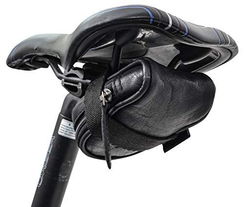 Gusti Satteltasche Leder - UDO B. Schlauchtasche Fahrradtasche für Werkzeug Ledertasche Vintage Schwarz