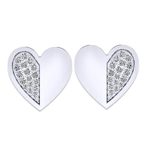 IGI Certified 0.135 Carat Diamond Heart Stud Earrings for Women in 10K White Gold (H-I Color, VS-SI Clarity)