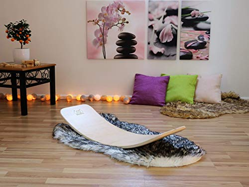 KateHaa Small Wooden Balance Board, Yogaboard,Montesori Wooden toy, Wooden curvy board, Rocky balance board