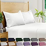 BAMPURE 100% Organic Bamboo Sheets - Bamboo Bed Sheets Organic Sheets Deep Pocket Sheets Bed Set Cooling Sheets King Size, White