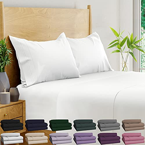 BAMPURE 100% Organic Bamboo Sheets - Bamboo Bed Sheets Organic Sheets Deep Pocket Sheets Bed Set Cooling Sheets Queen Size, White