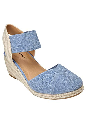 Comfortview Women's Wide Width The Abra Espadrille Sneaker - 11 W, Denim