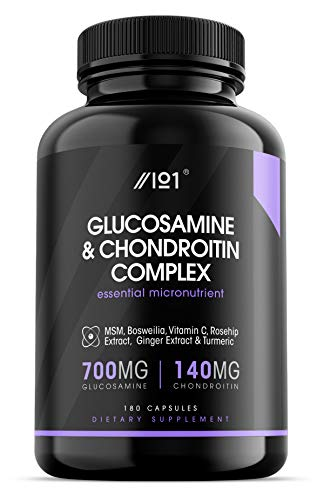 Glucosamine 2 KCL & Chondroitin Complex - with MSM, Boswellia, Rosehip, Ginger & Turmeric - Made from Pasture Raised, Grass-Fed Bovine - Non-GMO, 180 Capsules