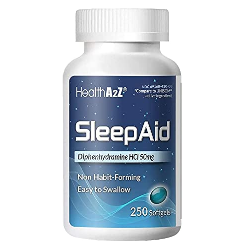 HealthA2Z Sleep Aid, Diphenhydramine HCl 50mg, 250 Softgels, Supports...