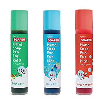 SOAPEN Kids  Roll-On Hand Soap | Fun Colorful Soap Pen | Encourages Proper Handwashing  3-Pack  Fresh Pear / Berry Blast/ Tangy Tangerine