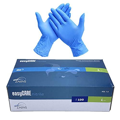 EasyCare - Guantes De Nitrilo Desechables, Color Azul, Antivirus, Sin Polvo, Caja de 100 Unidades, Talla L (Large)