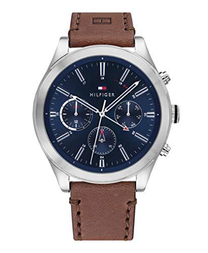 Tommy Hilfiger Reloj Analógico para Hombre de Cuarzo con Correa en Cuero 01791741