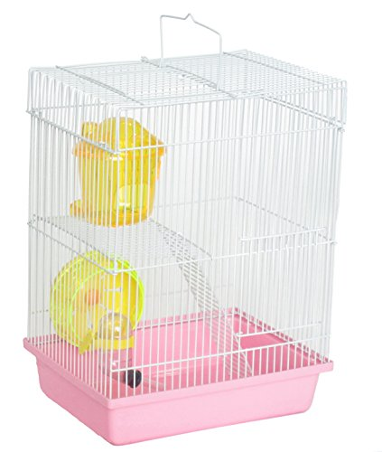 """YML Double Stories Dwarf Hamster Cage with Small Wheel/Dish and Water Bottle/Plastic Base, Pink, 10.5"""" x 8"""" x 15"""""""