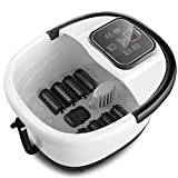 Foot Spa Bath Massager with Heat, Bubble Jets and 8 Removable Long Massage Rollers with Acupressure Massage Nodes, Medicine Box, Digital Adjustable Temperature Control, Portable Handle
